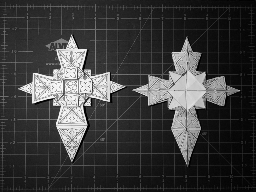 Origami cross variation 2 front and back